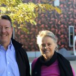 Anna Vanderbom and Brian Langenberg outside Harry Perkins at QEIIMC
